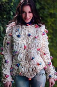 Пуловер из фитильной пряжи