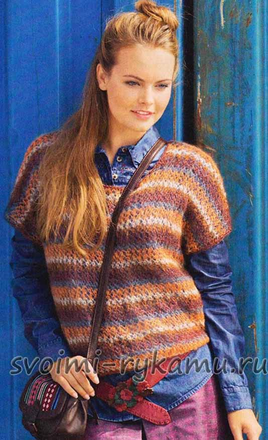 Пуловер Из Пряжи Секционного Крашения Доставка