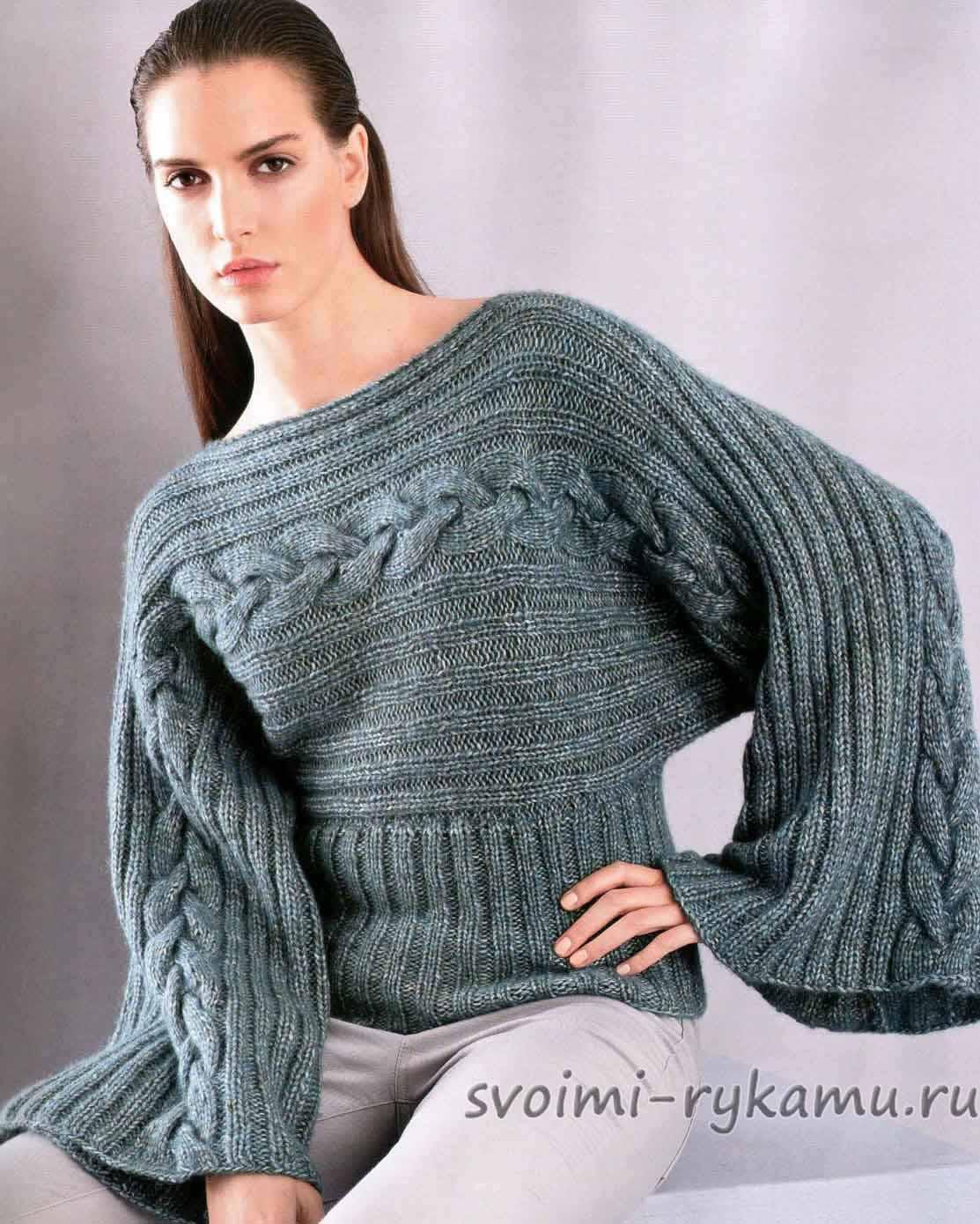 пуловер с широкими рукавами и горлом схема и описание